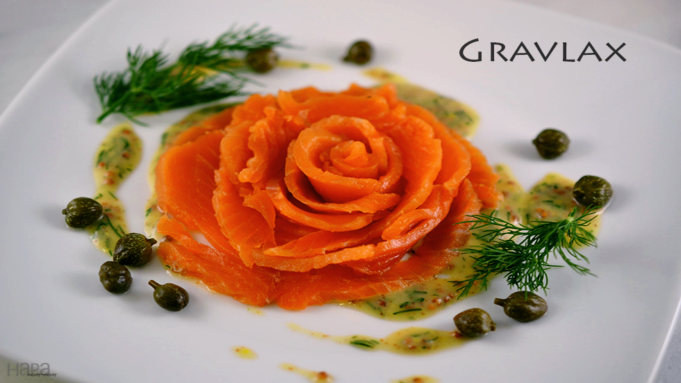... prawn crackers appetizer salmon gravlax tartare on crisp potato slices