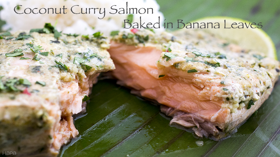 Coconut Curry Salmon Baked in Banana Leaves