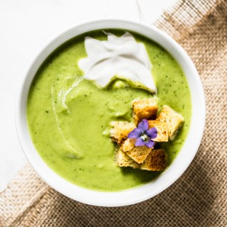 Spring Pea Soup with Crème Fraîche and Garlic Saffron Croutons