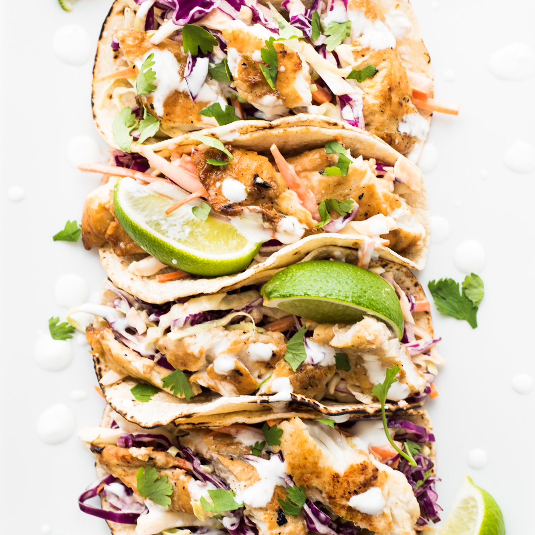 Fish tacos with sriracha aioli slaw for Fish tacos with coleslaw