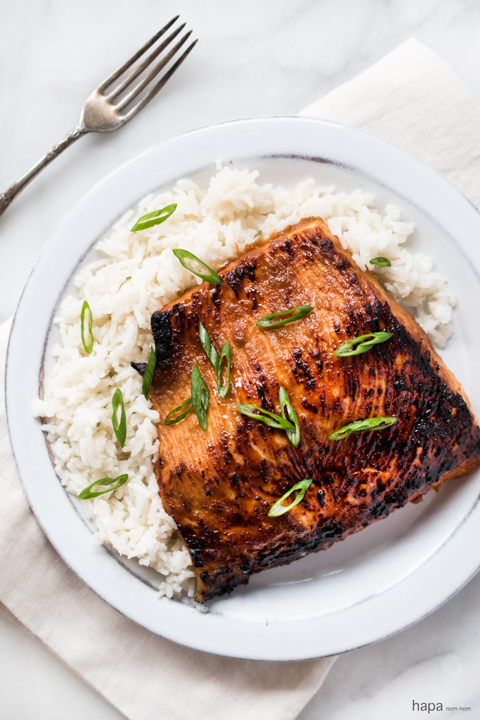 Miso Glazed Salmon with Coconut Rice is a simple yet elegant dish ...