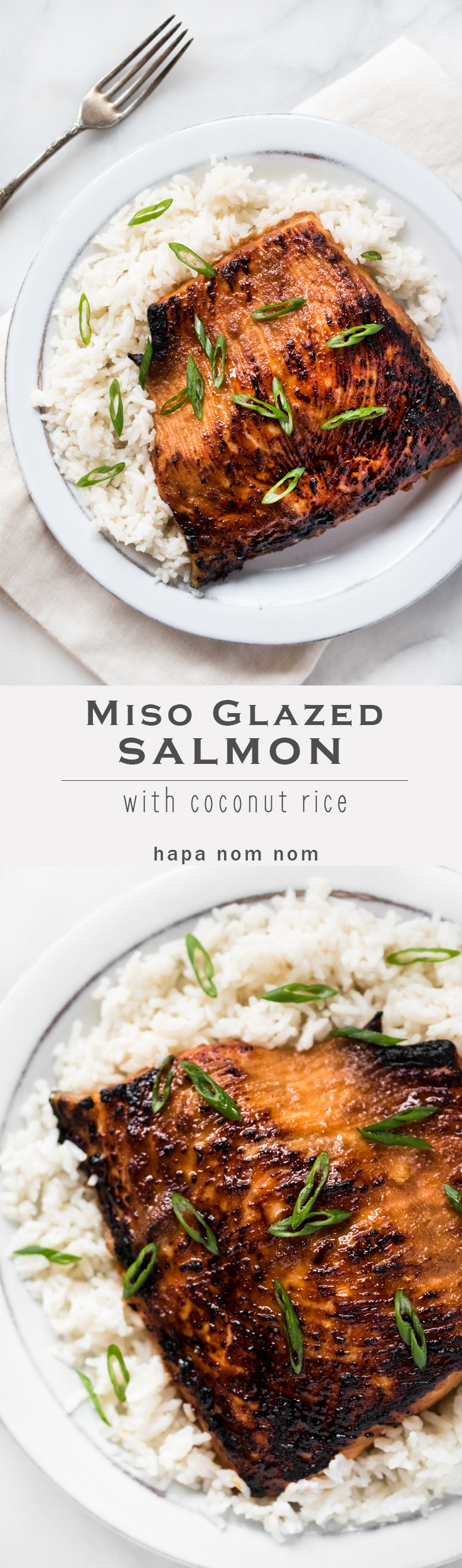 Miso Glazed Salmon with Coconut Rice is a simple yet elegant dish packed with flavor!