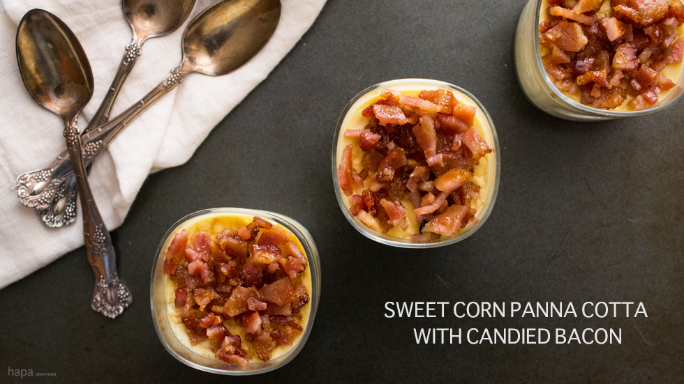 Corn Panna Cotta with Candied Bacon