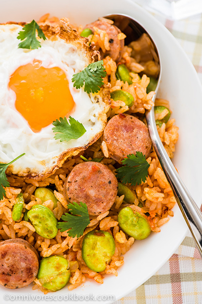 Tomato Fried Rice with Sausage by Omnivore's Cookbook