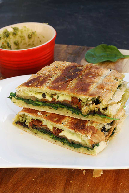 Roasted Eggplant Pesto, & Brocconcini Panini by Scrummy Lane