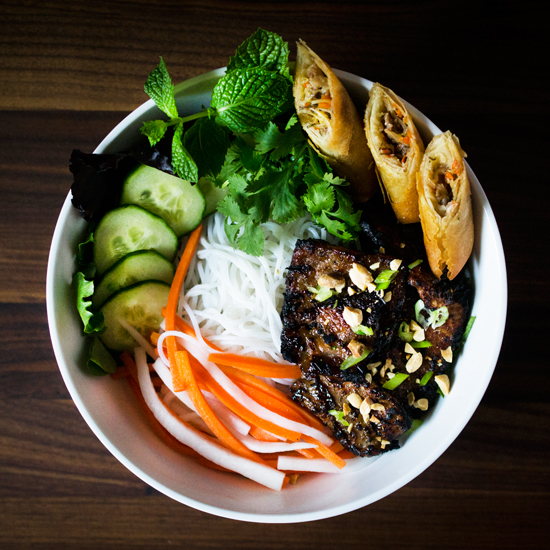 Bun Thit Nuong Cha Gio (Grilled Pork and Spring Rolls with Noodles) -