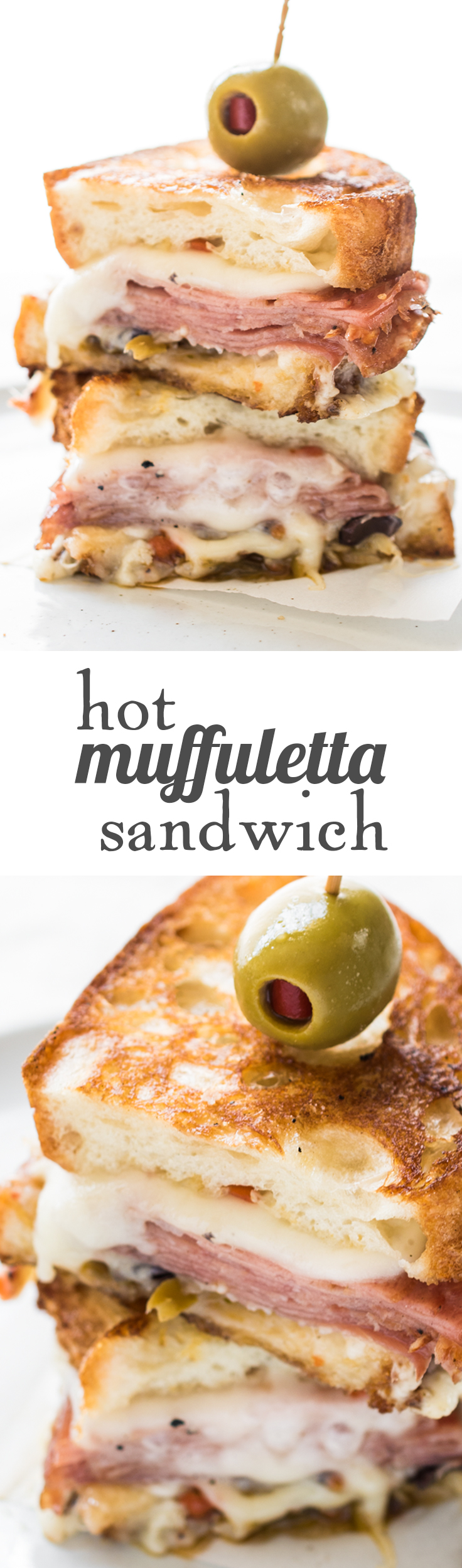 A Hot Muffaletta Sandwich dripping with cheese and packed with punch!
