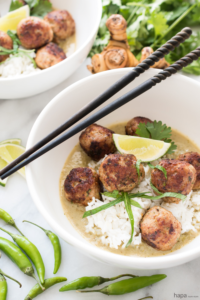 Thai Green Coconut Curry Meatballs - Fragrant jasmine rice and incredibly juicy meatballs in a spicy coconut curry broth.