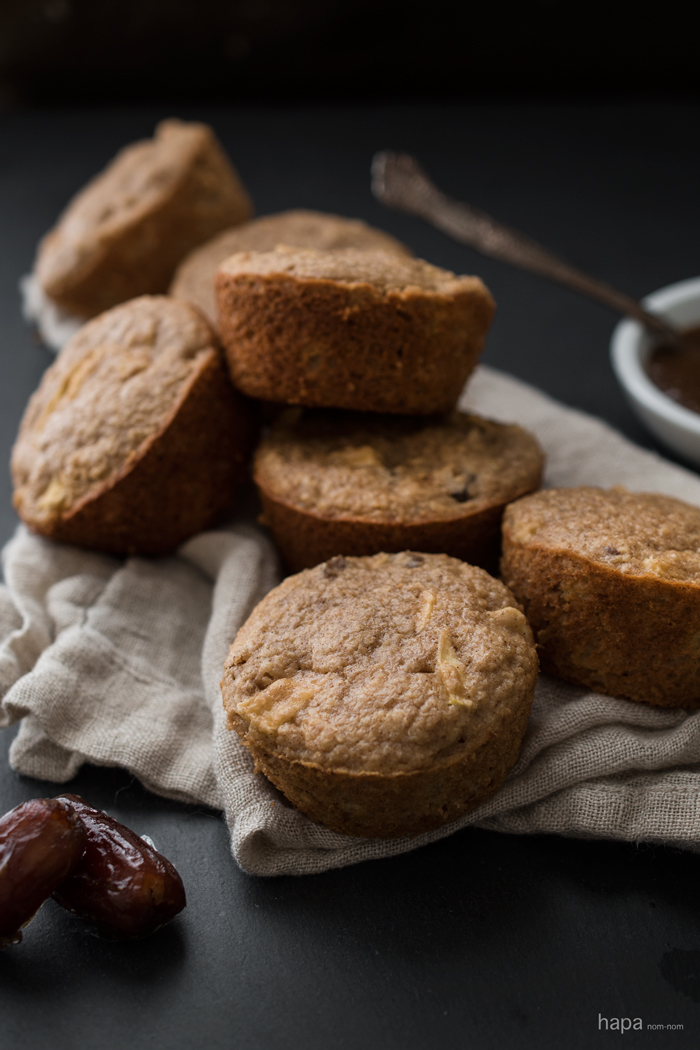 Moist, Delicious, & Healthy - Apple-Date Oat Bran Muffins with Apple Butter