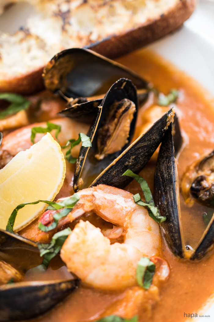 Easy Bouillabaisse - Fresh fish, mussels, clams, and shrimp in a rich ...