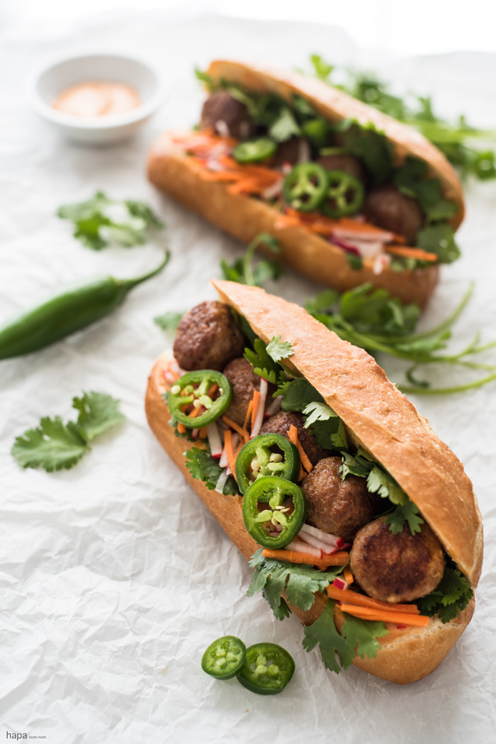 Incredibly moist and flavorful Meatball Bánh Mì Sandwich with fresh ...
