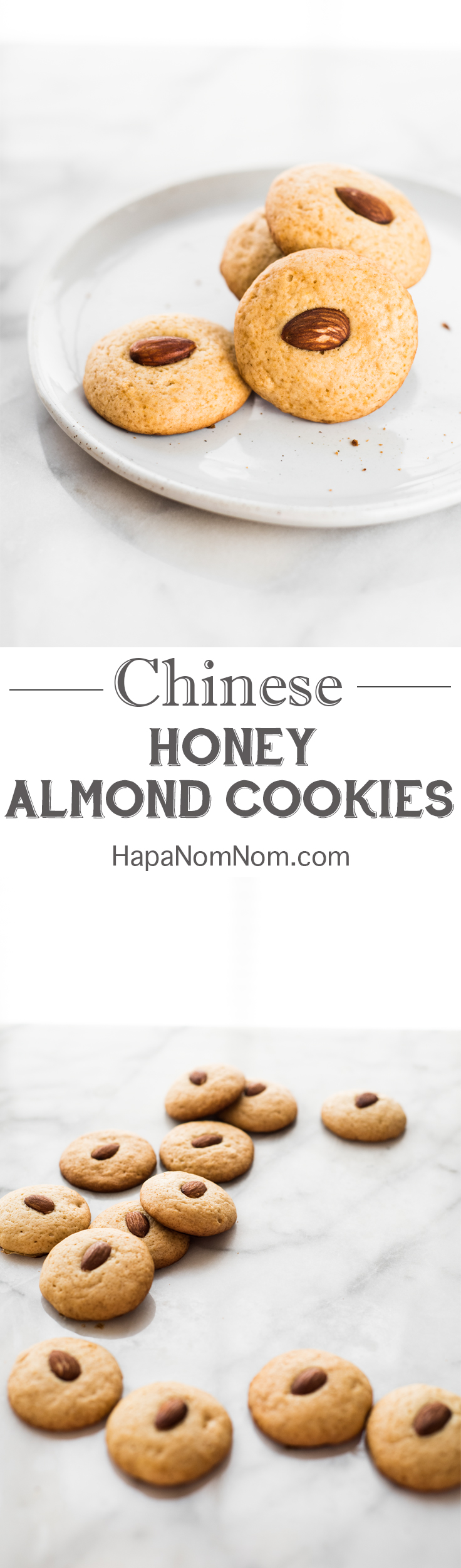 Celebrate Chinese New Year with these delicious Honey Almond Cookies! Softer and lighter than traditional ones, but every bit as delicious!