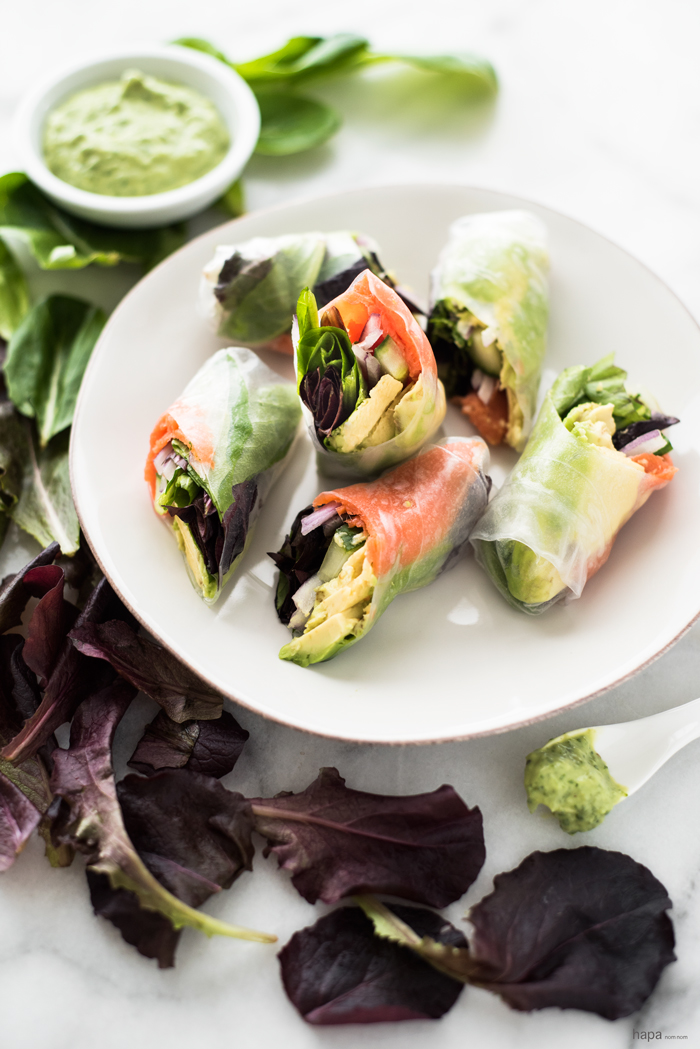 Lox Summer Rolls with Avocado-Lime Dipping Sauce - a Vietnamese twist on a Jewish deli classic