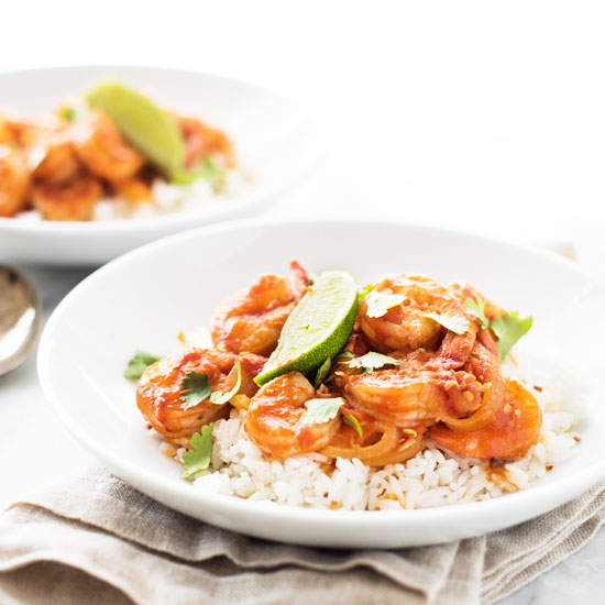 Spicy Chili Garlic Shrimp with Coconut Rice