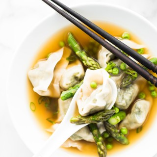 Embrace the season and make this easy Spring Vegetable Wonton Soup! Vegetarian/Vegan friendly + a VIDEO!