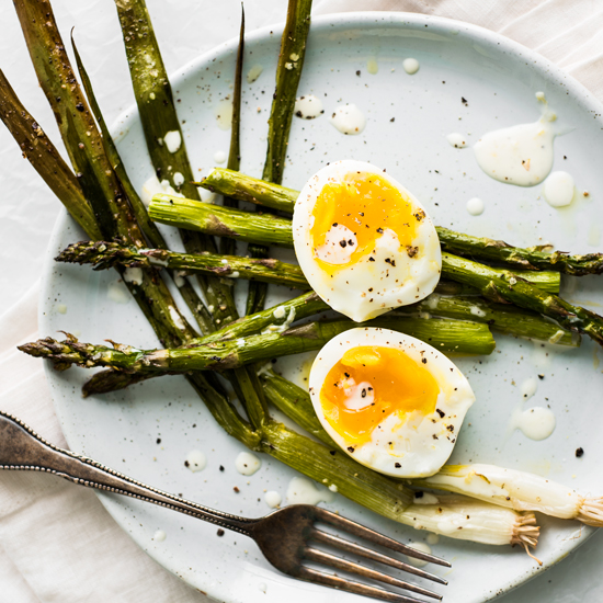 Roasted Asparagus and Scallions with Perfectly Creamy Eggs -