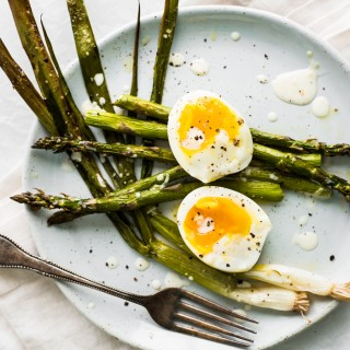 Roasted Asparagus and Scallions with a Perfectly Cooked Egg and a Creamy Lemon Dressing.