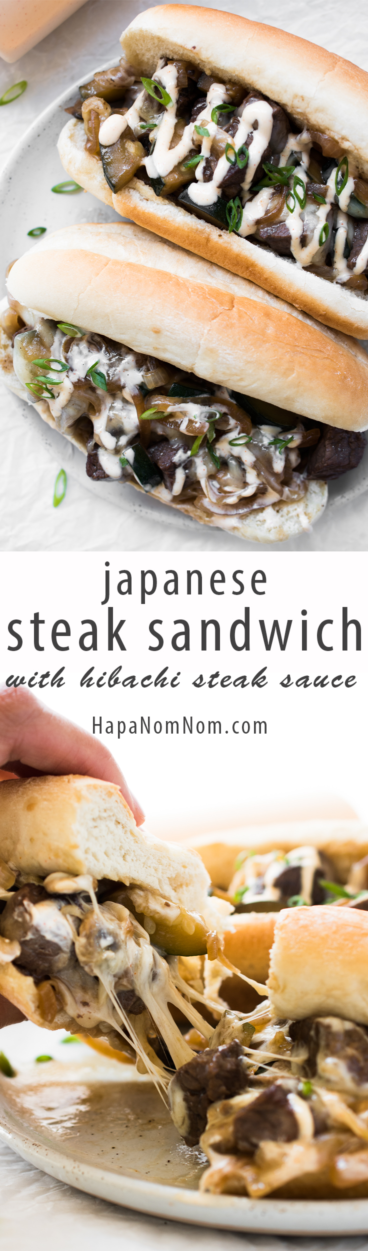 Japanese Steak Sandwich with Hibachi Steak Sauce - It's a bit of Japanese steakhouse meets a Philly cheese steak. And yes, it's as awesome as it sounds! This is like shovel into your mouth, don't care who see's you dripping steak juice all over, kind of awesome!