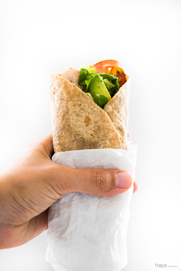 A classic California Club in a wrap. Perfect for an easy lunch and loaded with flavor.