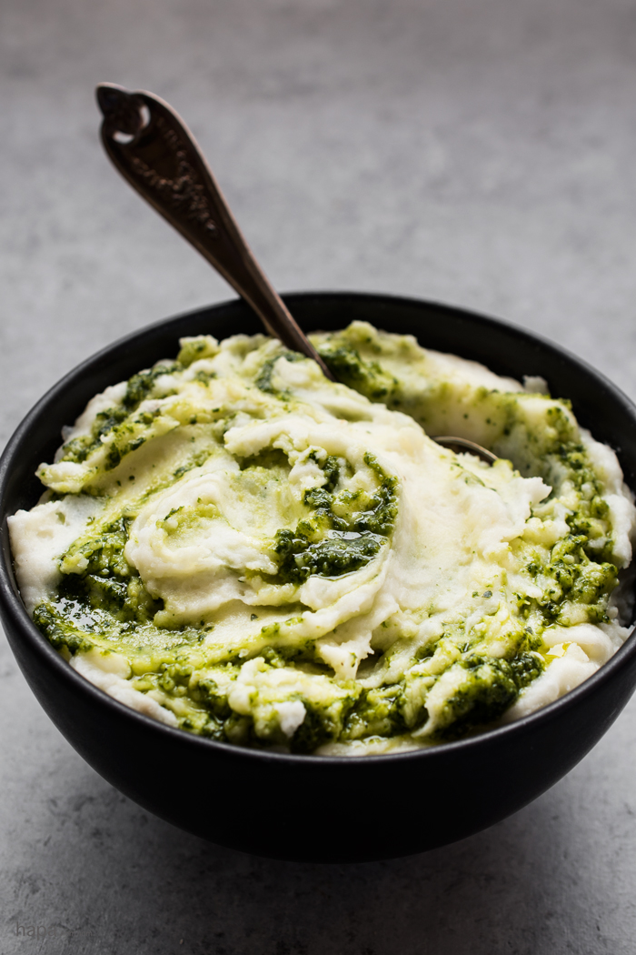 Super Creamy Roasted Garlic Mashed Potatoes with Basil Pesto