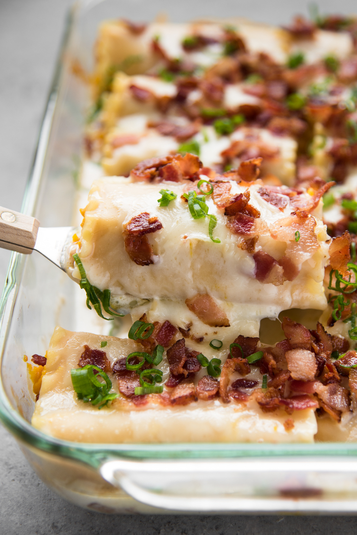 Roasted Kabocha Lasagna with Sake Cream Sauce and Crispy Bacon